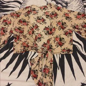 Tops - Floral wrap/tie top